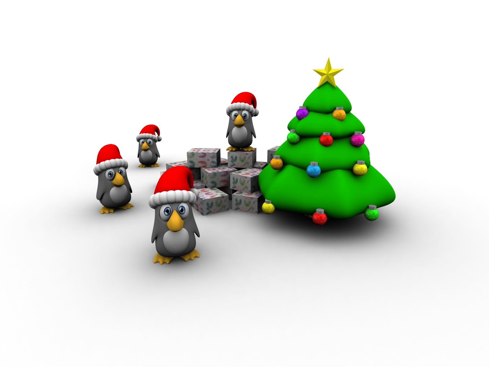 Penguins And Tree